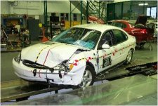 40 km/h offset frontal crash test with deformable barrier